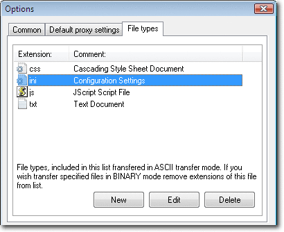 ASCII transfer mode is used when performing profile tasks for file types specified in the list. You can add, edit or delete file types from the list using corresponding buttons