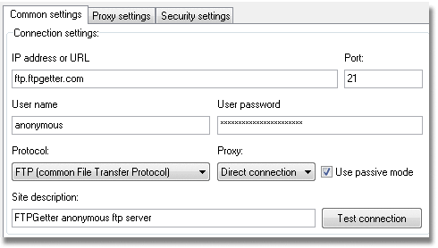 FTP server connection settings: ftp server address or URL, ftp or ftp over ssl protocols settings, user name and password, direct or through proxy connection